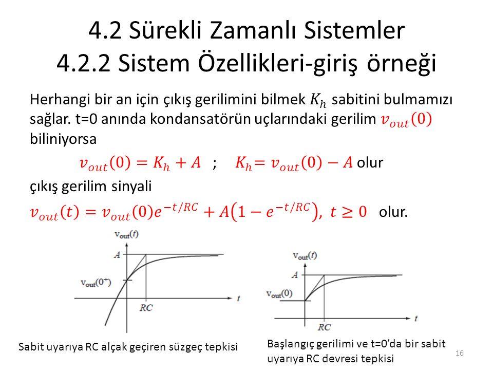4.2 Sürekli Zamanlı Sistemler 4.2.2 Sistem Özellikleri-giriş örneği