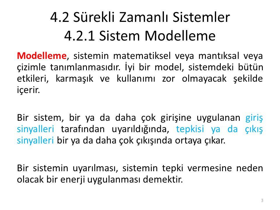 4.2 Sürekli Zamanlı Sistemler 4.2.1 Sistem Modelleme