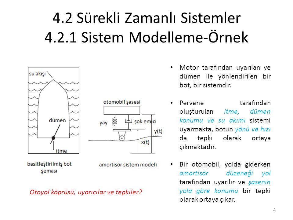 4.2 Sürekli Zamanlı Sistemler 4.2.1 Sistem Modelleme-Örnek