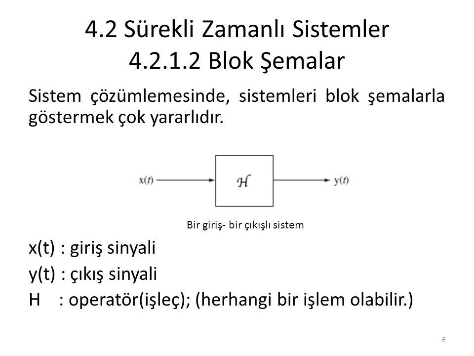 4.2 Sürekli Zamanlı Sistemler 4.2.1.2 Blok Şemalar
