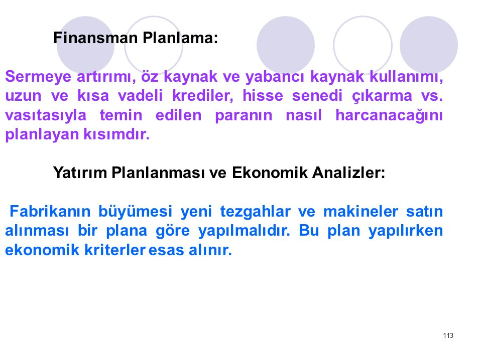 Finansman Planlama: