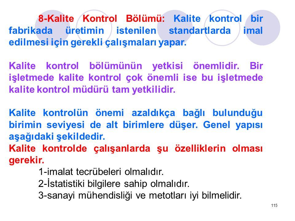 8-Kalite Kontrol Bölümü: Kalite kontrol bir fabrikada üretimin istenilen standartlarda imal edilmesi için gerekli çalışmaları yapar.