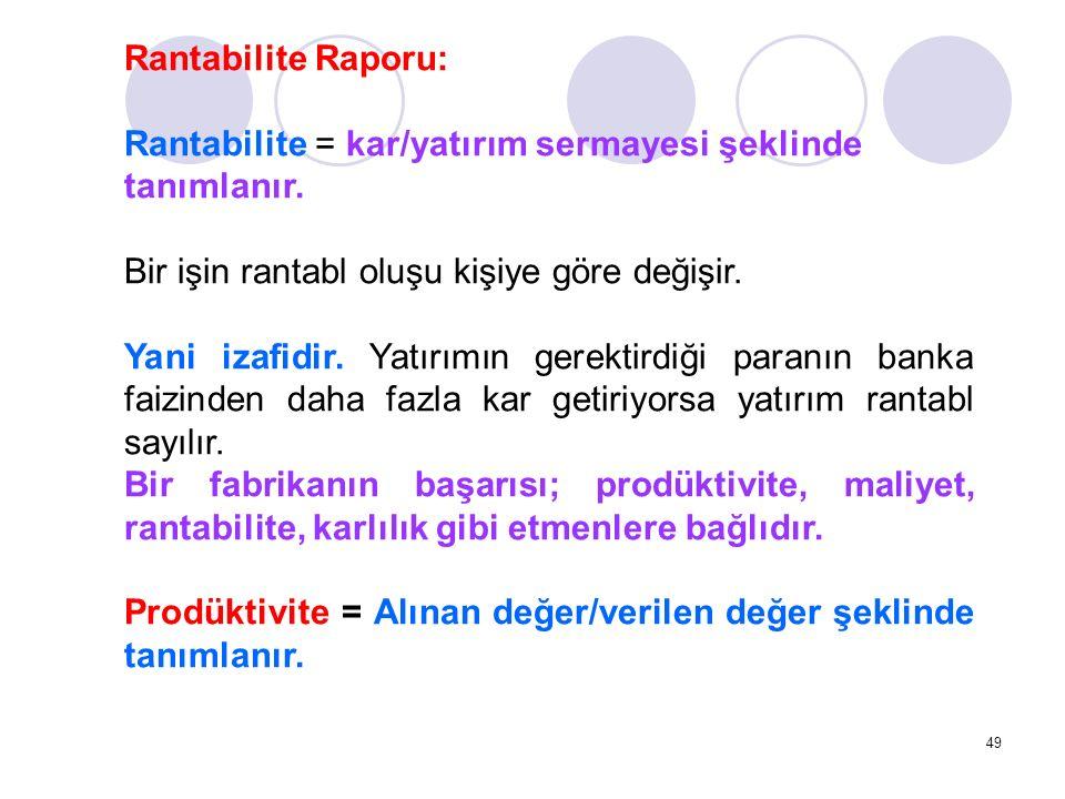 Rantabilite Raporu: Rantabilite = kar/yatırım sermayesi şeklinde tanımlanır. Bir işin rantabl oluşu kişiye göre değişir.