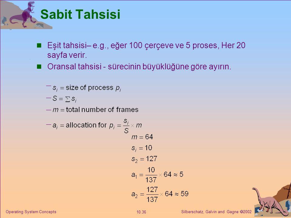 Sabit Tahsisi Eşit tahsisi– e.g., eğer 100 çerçeve ve 5 proses, Her 20 sayfa verir. Oransal tahsisi - sürecinin büyüklüğüne göre ayırın.