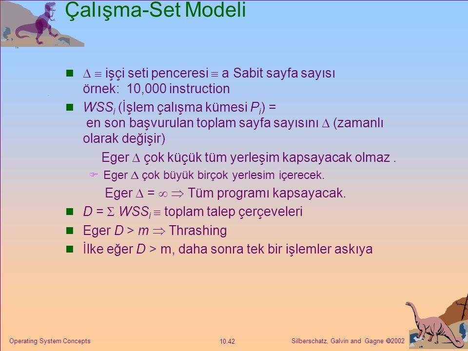 Çalışma-Set Modeli   işçi seti penceresi  a Sabit sayfa sayısı örnek: 10,000 instruction.