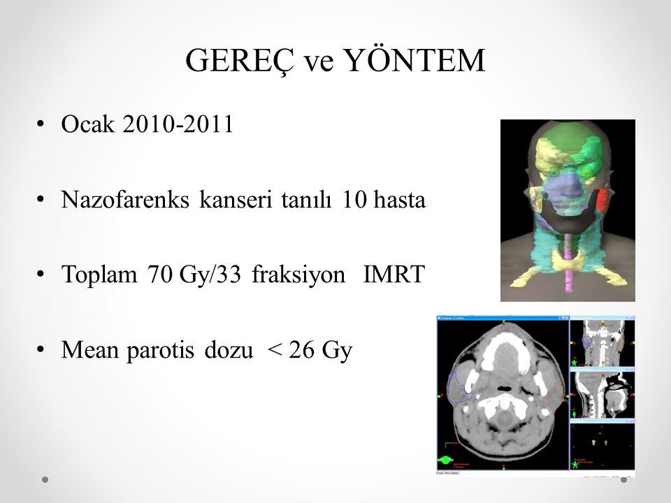 GEREÇ ve YÖNTEM Ocak 2010-2011 Nazofarenks kanseri tanılı 10 hasta