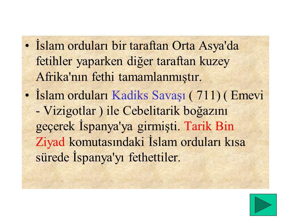 İslam orduları bir taraftan Orta Asya da fetihler yaparken diğer taraftan kuzey Afrika nın fethi tamamlanmıştır.