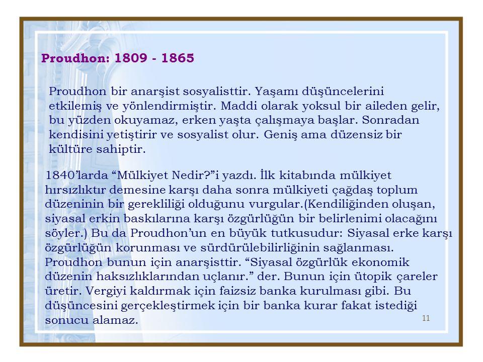 Proudhon: 1809 - 1865