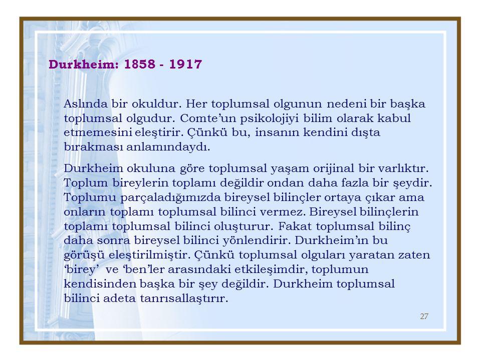 Durkheim: 1858 - 1917