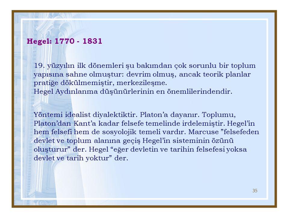 Hegel: 1770 - 1831