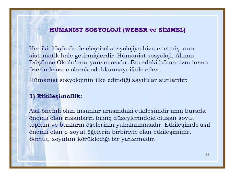 HÜMANİST SOSYOLOJİ (WEBER ve SİMMEL)
