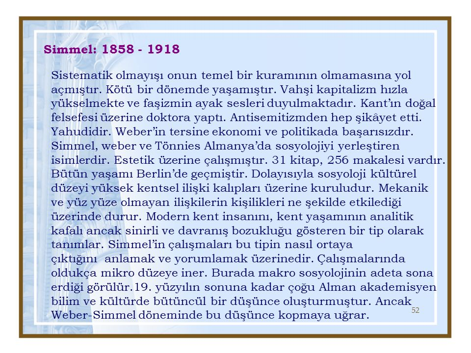 Simmel: 1858 - 1918