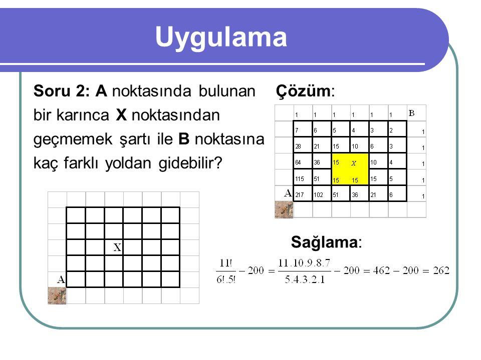 Uygulama Soru 2: A noktasında bulunan bir karınca X noktasından