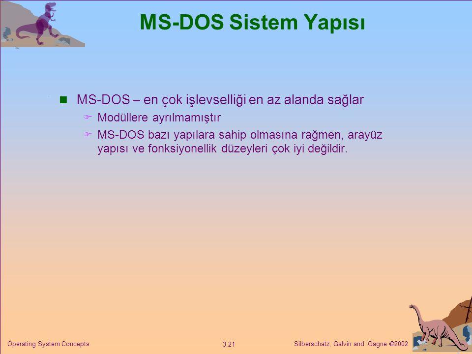 MS-DOS Sistem Yapısı MS-DOS – en çok işlevselliği en az alanda sağlar