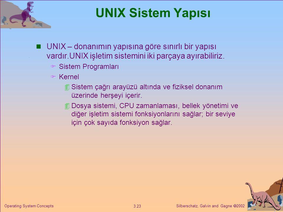 UNIX Sistem Yapısı UNIX – donanımın yapısına göre sınırlı bir yapısı vardır.UNIX işletim sistemini iki parçaya ayırabiliriz.