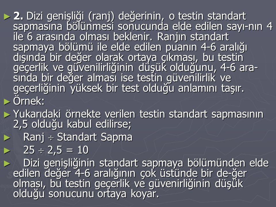2. Dizi genişliği (ranj) değerinin, o testin standart sapmasına bölünmesi sonucunda elde edilen sayı-nın 4 ile 6 arasında olması beklenir. Ranjın standart sapmaya bölümü ile elde edilen puanın 4-6 aralığı dışında bir değer olarak ortaya çıkması, bu testin geçerlik ve güvenilirliğinin düşük olduğunu, 4-6 ara-sında bir değer alması ise testin güvenilirlik ve geçerliğinin yüksek bir test olduğu anlamını taşır.
