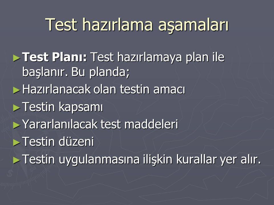 Test hazırlama aşamaları