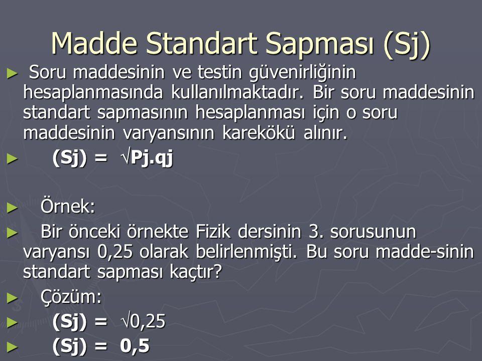 Madde Standart Sapması (Sj)