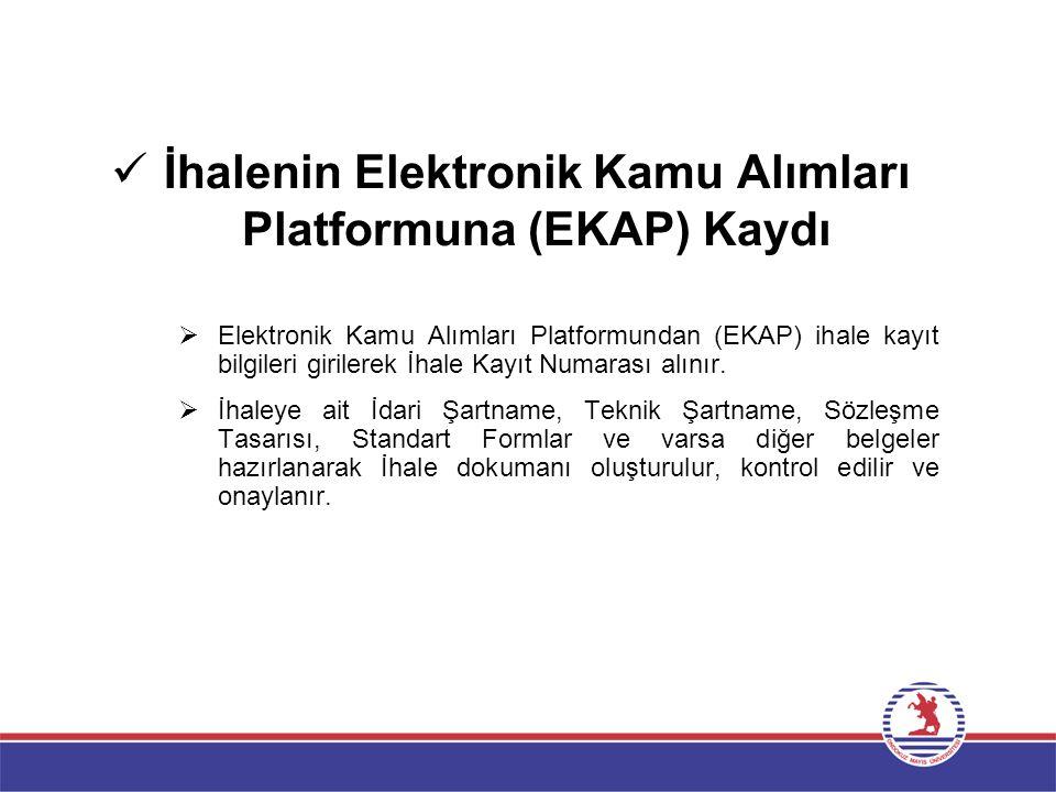 İhalenin Elektronik Kamu Alımları Platformuna (EKAP) Kaydı