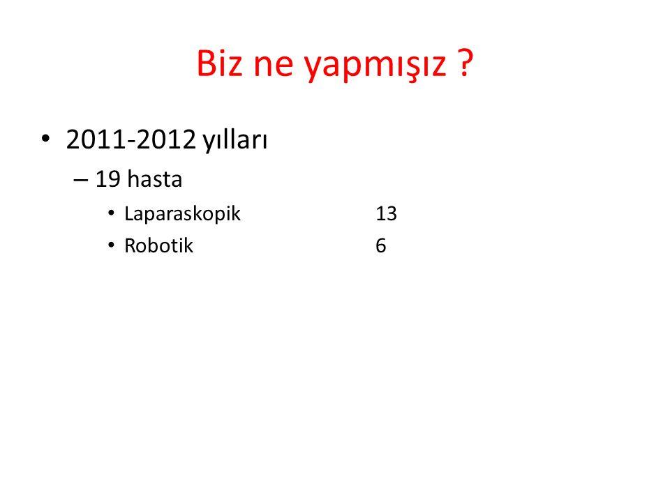 Biz ne yapmışız 2011-2012 yılları 19 hasta Laparaskopik 13 Robotik 6