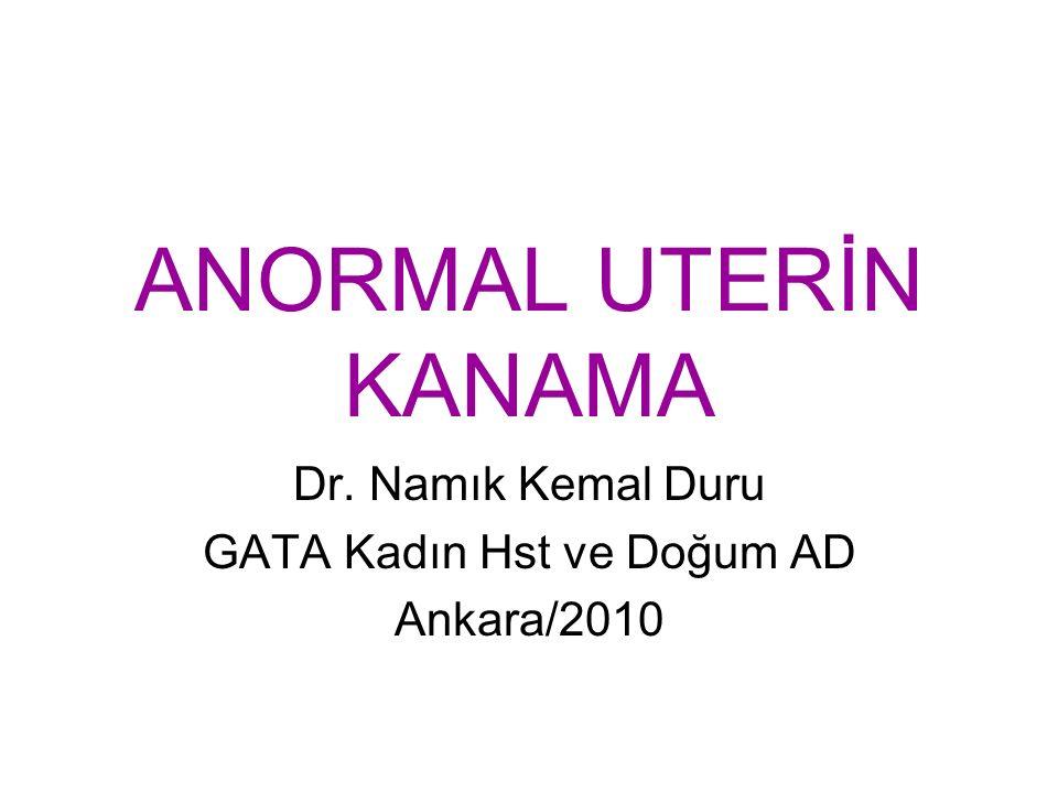 Dr. Namık Kemal Duru GATA Kadın Hst ve Doğum AD Ankara/2010