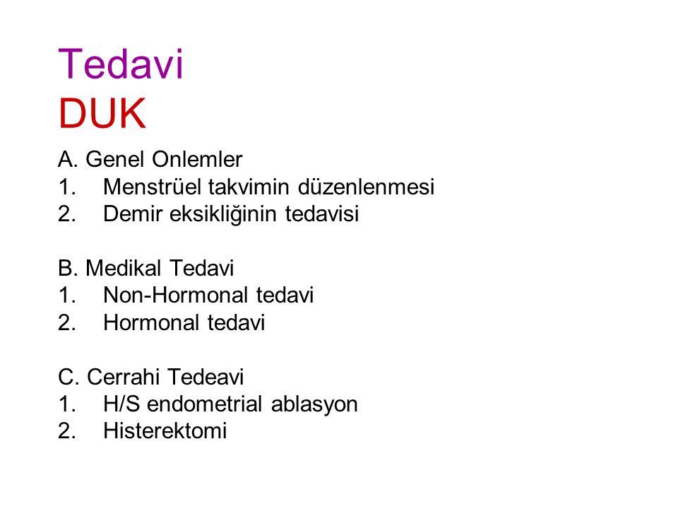 Tedavi DUK A. Genel Onlemler Menstrüel takvimin düzenlenmesi