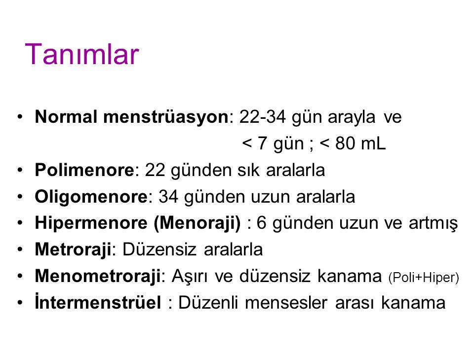 Tanımlar Normal menstrüasyon: 22-34 gün arayla ve