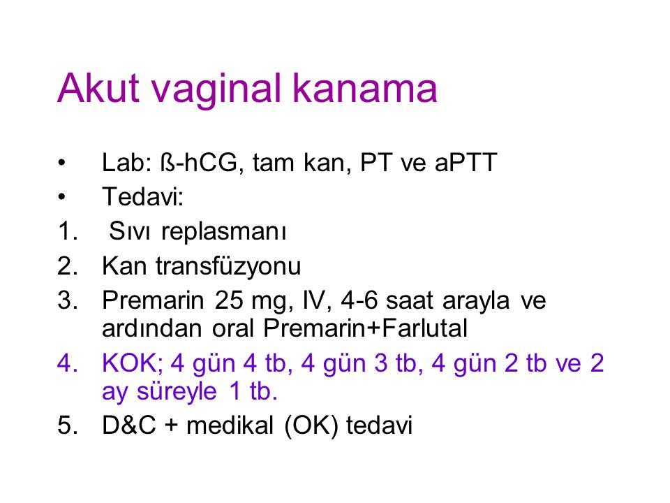 Akut vaginal kanama Lab: ß-hCG, tam kan, PT ve aPTT Tedavi: