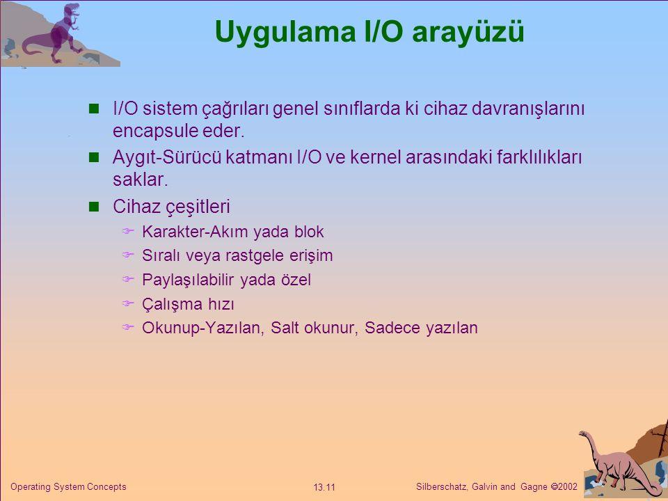 Uygulama I/O arayüzü I/O sistem çağrıları genel sınıflarda ki cihaz davranışlarını encapsule eder.