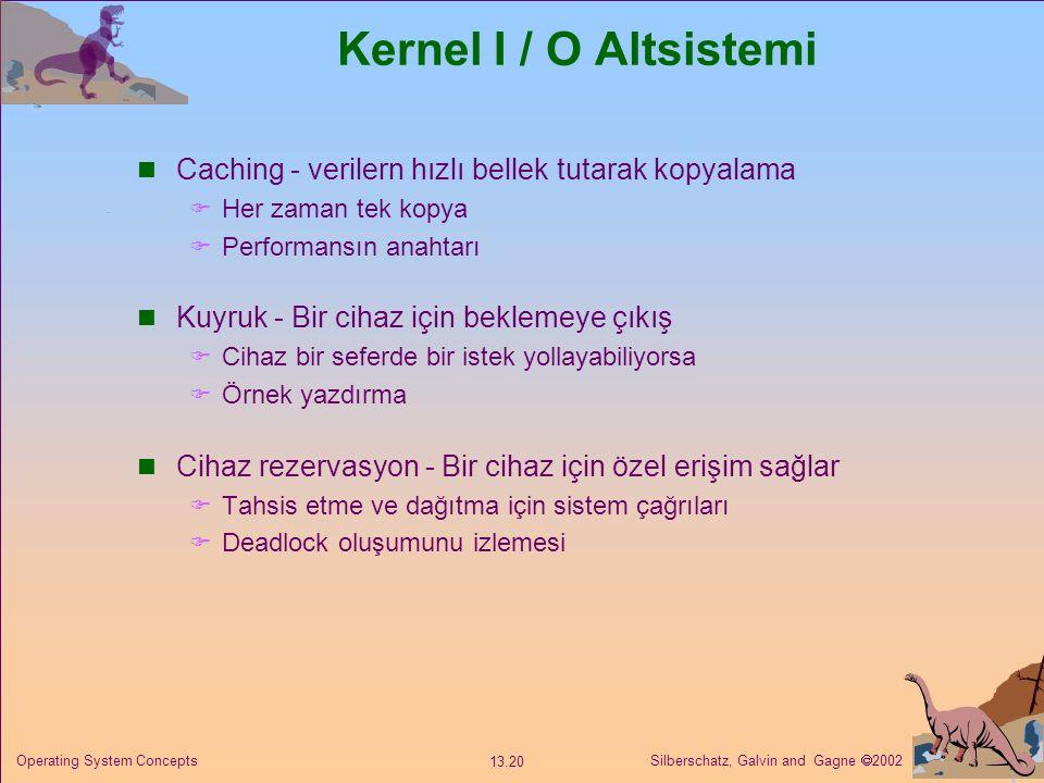 Kernel I / O Altsistemi Caching - verilern hızlı bellek tutarak kopyalama. Her zaman tek kopya. Performansın anahtarı.