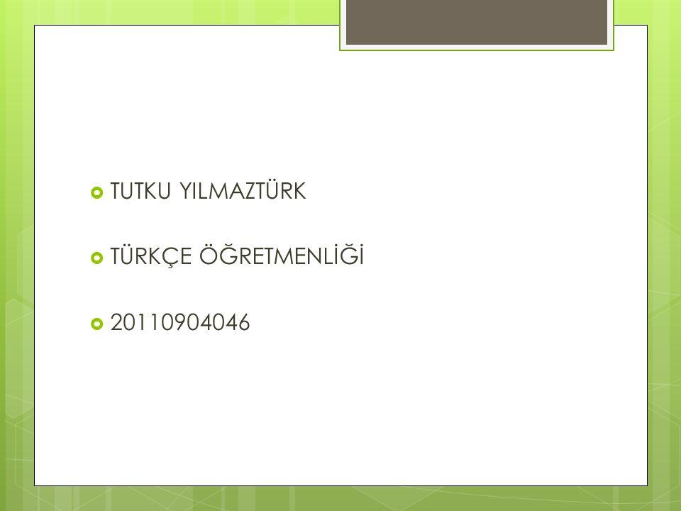 TUTKU YILMAZTÜRK TÜRKÇE ÖĞRETMENLİĞİ 20110904046