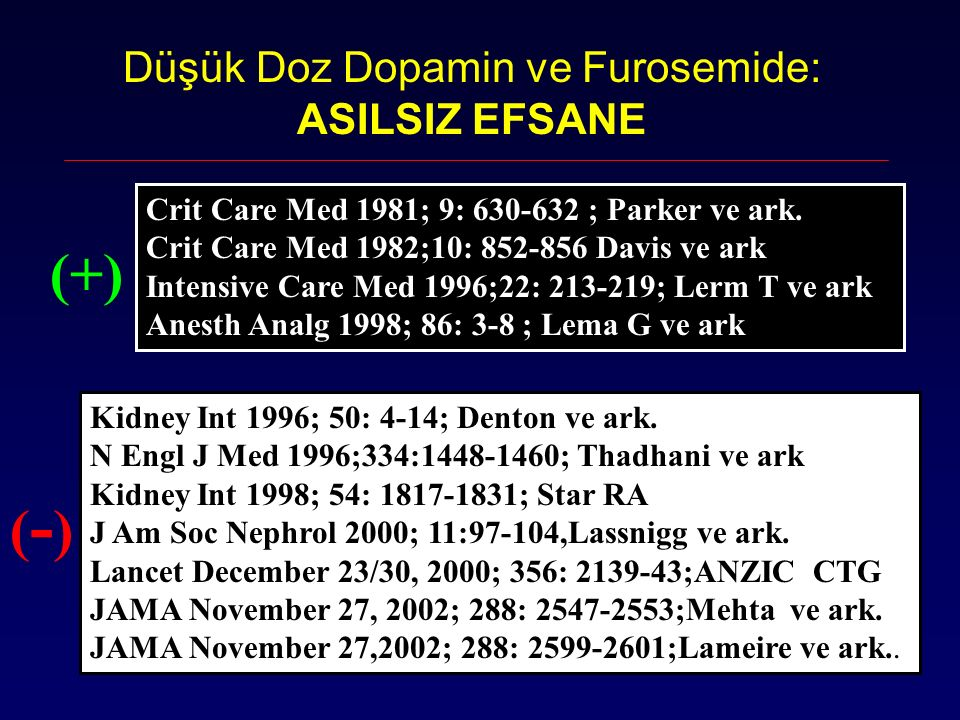 Düşük Doz Dopamin ve Furosemide: ASILSIZ EFSANE