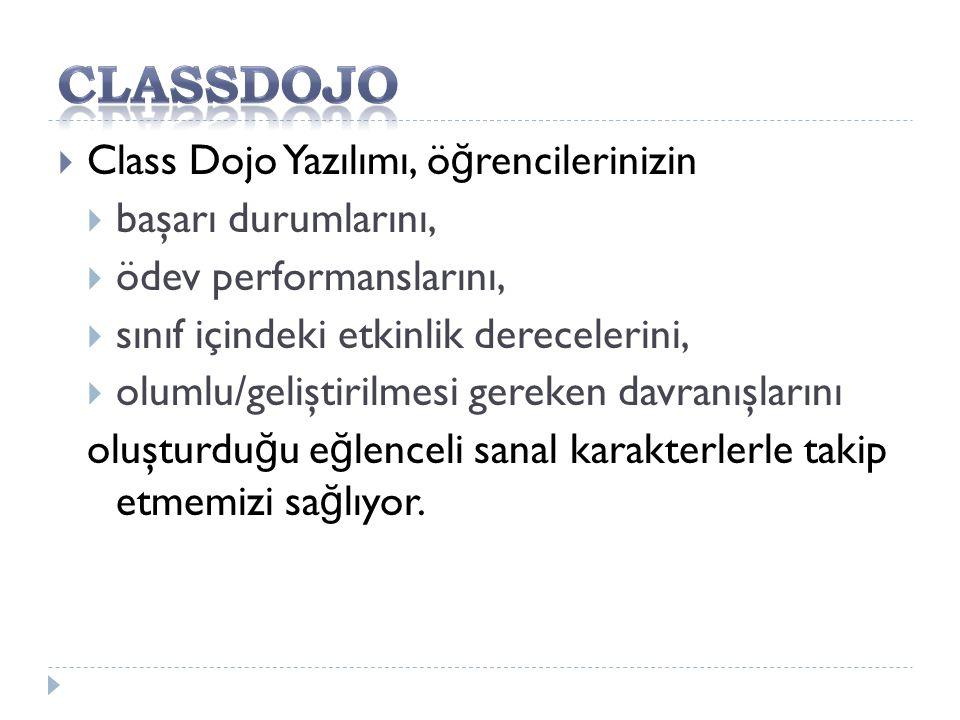 Classdojo Class Dojo Yazılımı, öğrencilerinizin başarı durumlarını,