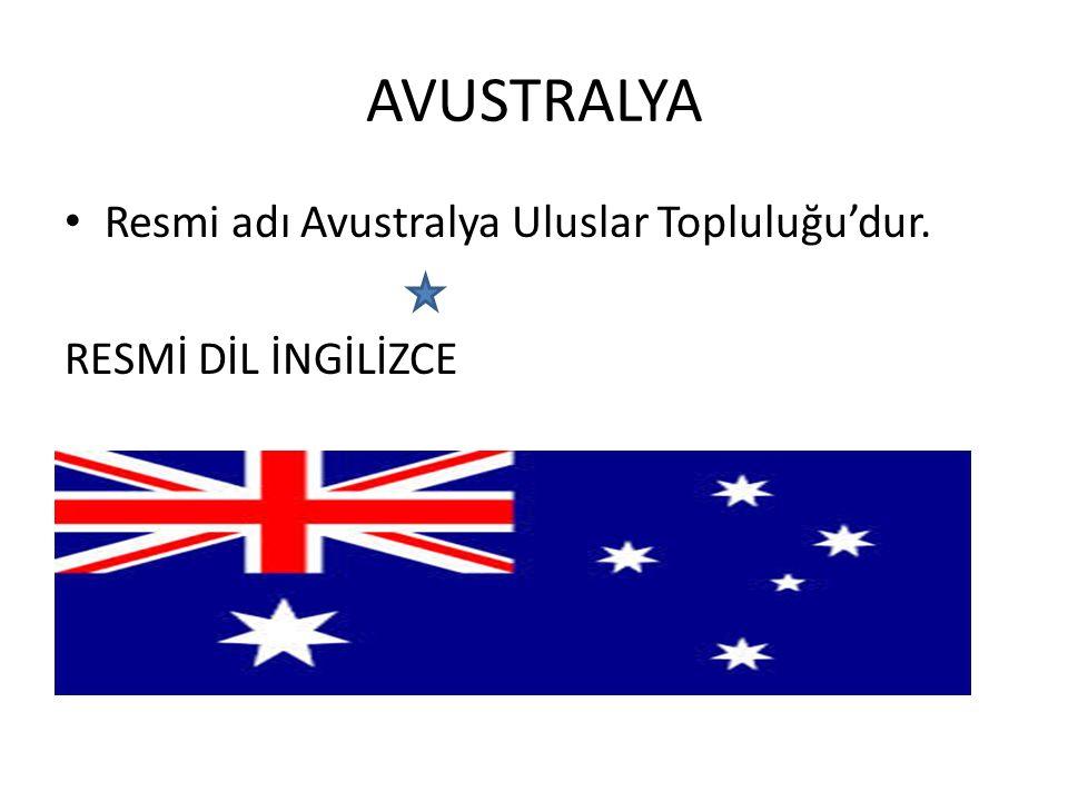 AVUSTRALYA Resmi adı Avustralya Uluslar Topluluğu'dur.