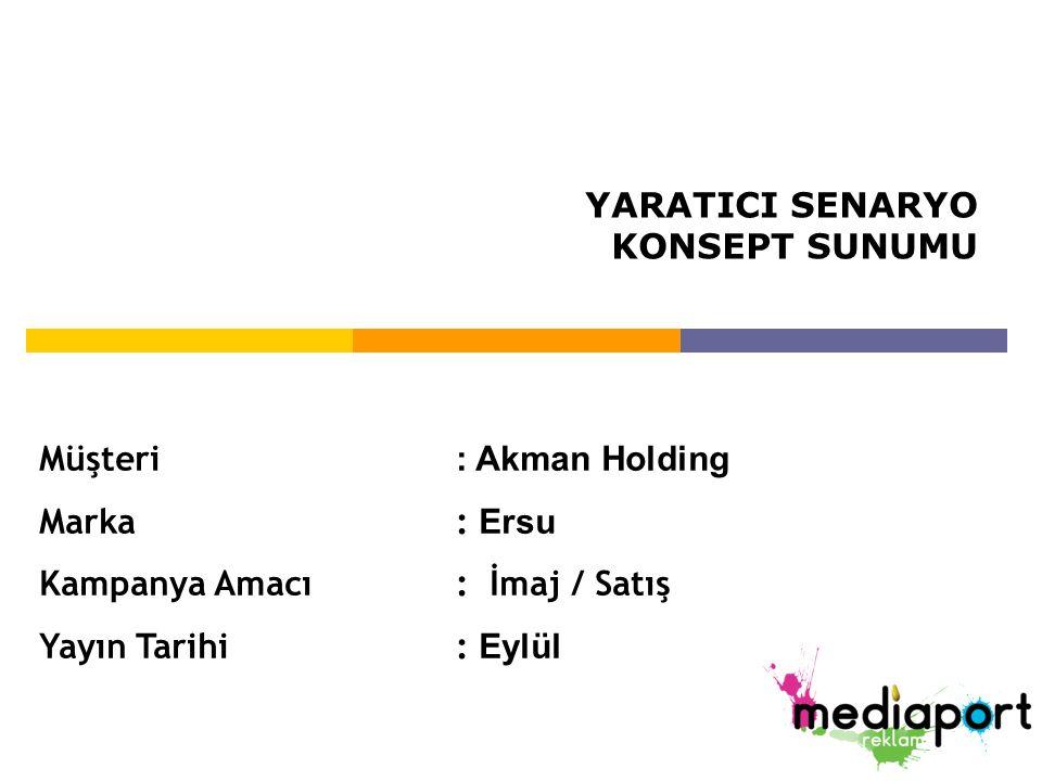 YARATICI SENARYO KONSEPT SUNUMU. Müşteri : Akman Holding. Marka : Ersu. Kampanya Amacı : İmaj / Satış.