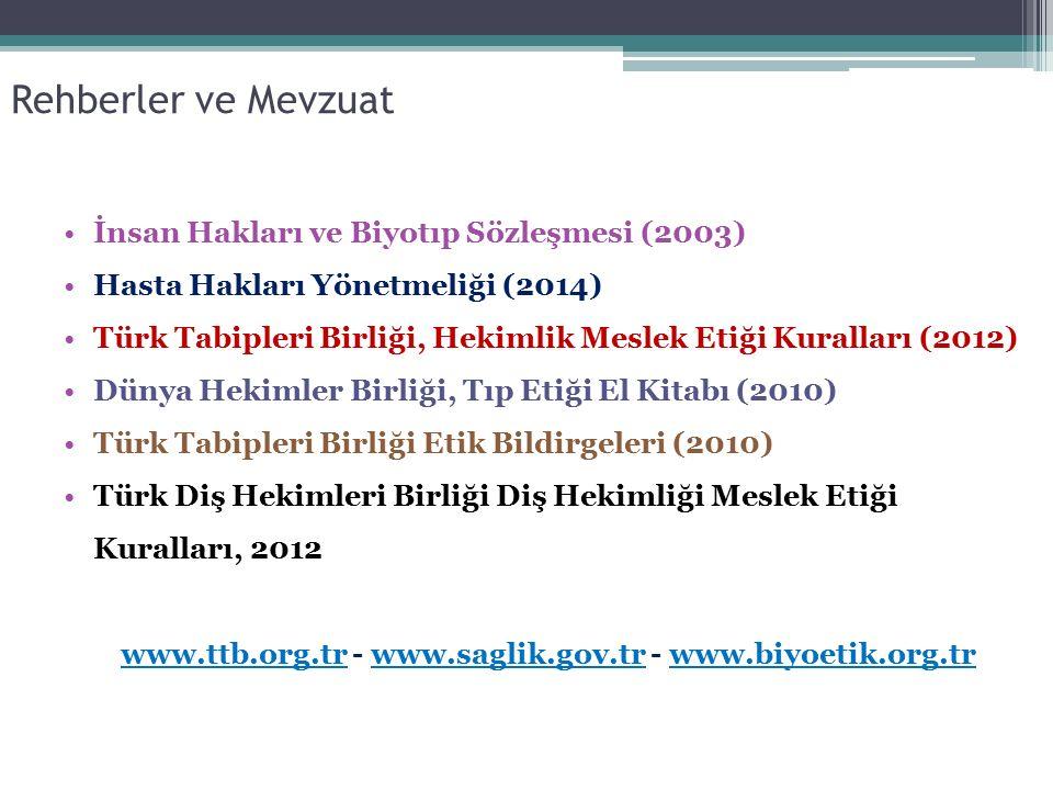 www.ttb.org.tr - www.saglik.gov.tr - www.biyoetik.org.tr