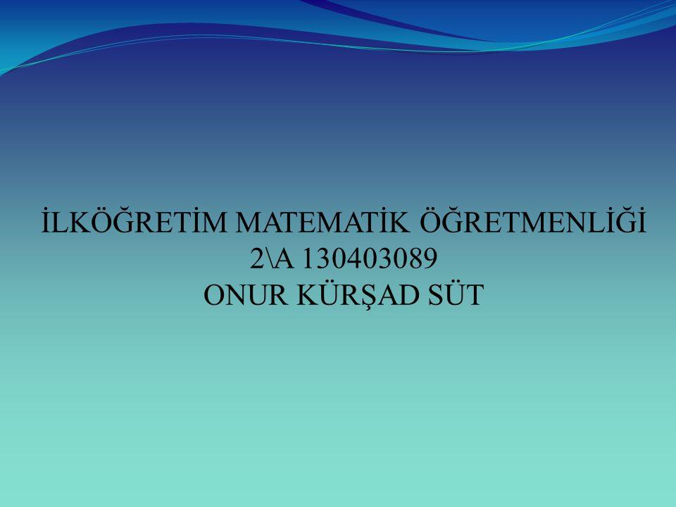 İLKÖĞRETİM MATEMATİK ÖĞRETMENLİĞİ 2\A 130403089 ONUR KÜRŞAD SÜT