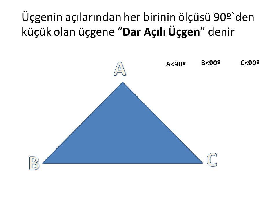 Üçgenin açılarından her birinin ölçüsü 90º`den küçük olan üçgene Dar Açılı Üçgen denir