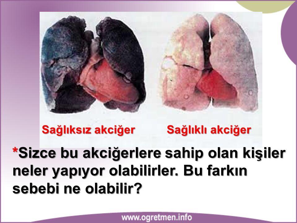 Sağlıksız akciğer Sağlıklı akciğer.