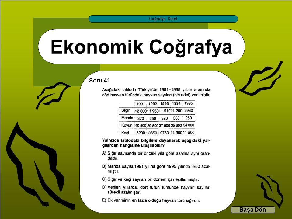 Coğrafya Dersi Ekonomik Coğrafya Soru 41 Başa Dön