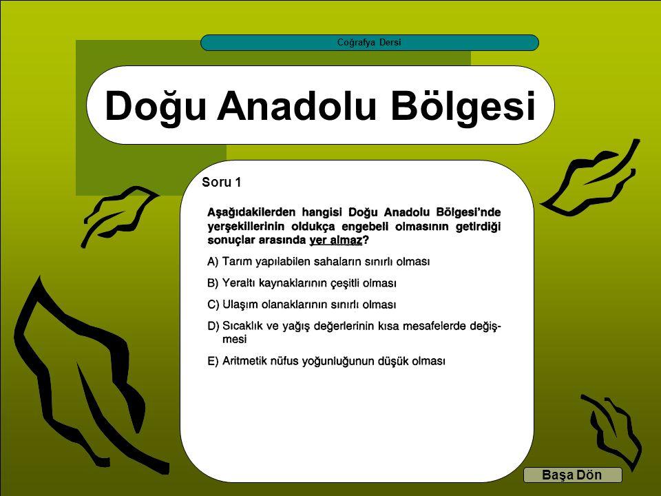 Coğrafya Dersi Doğu Anadolu Bölgesi Soru 1 Başa Dön