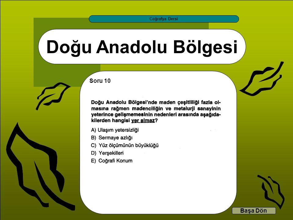 Coğrafya Dersi Doğu Anadolu Bölgesi Soru 10 Başa Dön