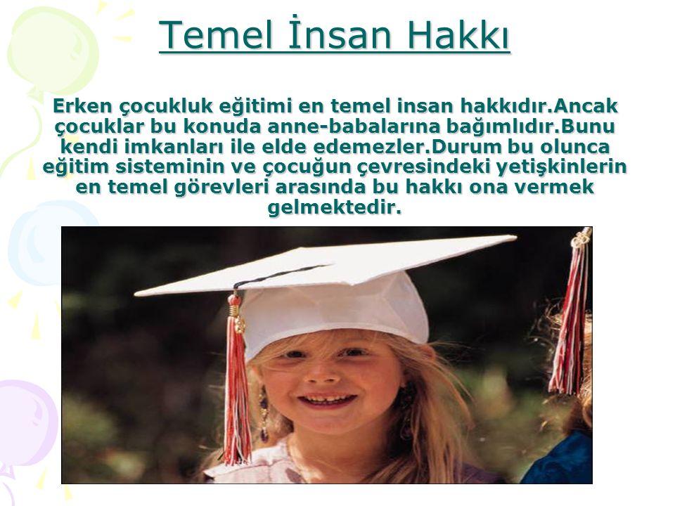 Temel İnsan Hakkı Erken çocukluk eğitimi en temel insan hakkıdır