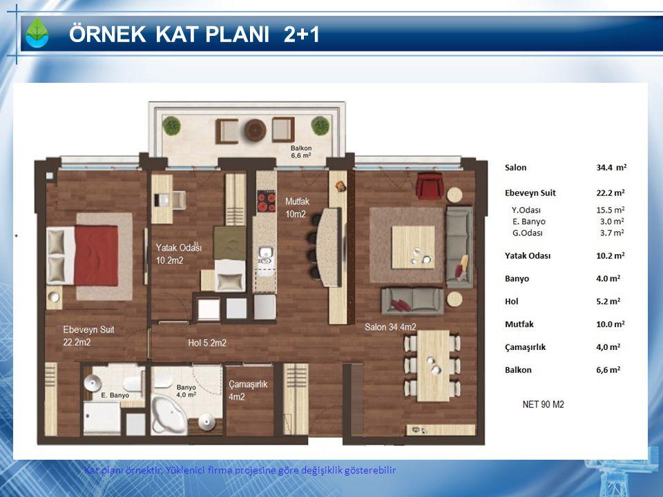 ÖRNEK KAT PLANI 2+1 Kat planı örnektir, Yüklenici firma projesine göre değişiklik gösterebilir