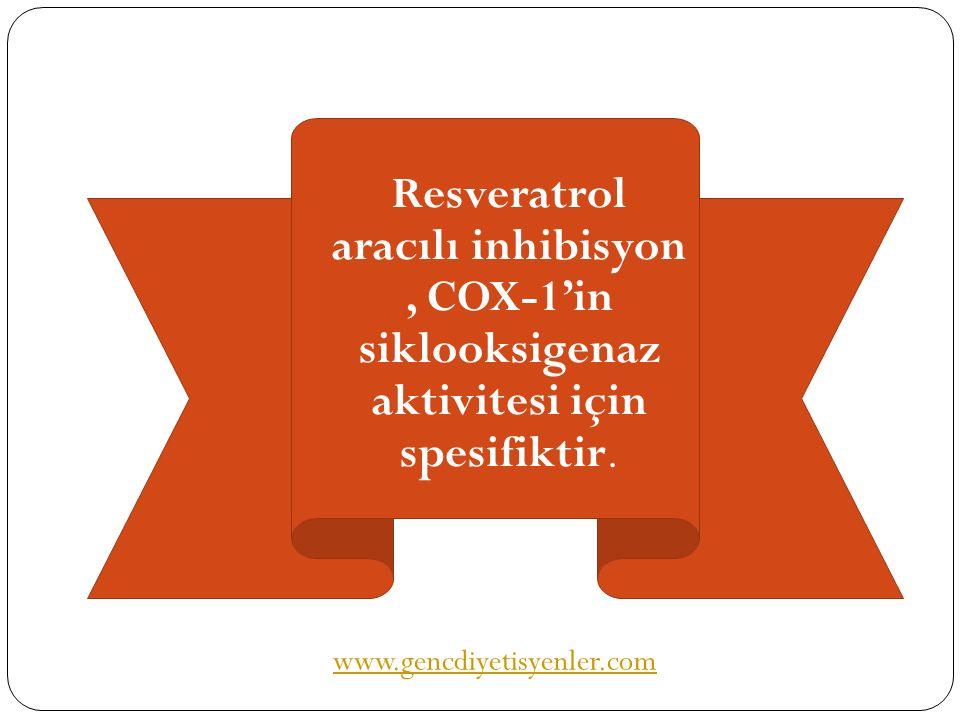 Resveratrol aracılı inhibisyon , COX-1'in siklooksigenaz aktivitesi için spesifiktir.
