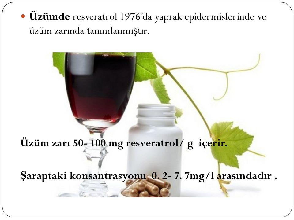 Üzümde resveratrol 1976'da yaprak epidermislerinde ve üzüm zarında tanımlanmıştır.