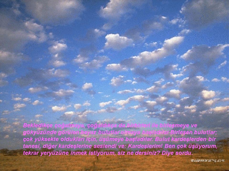 Bekledikçe çoğalmaya, çoğaldıkça da birbirleri ile birleşmeye ve gökyüzünde görülen beyaz bulutlar olmaya başladılar.Birleşen bulutlar; çok yüksekte oldukları için, üşümeye başladılar.