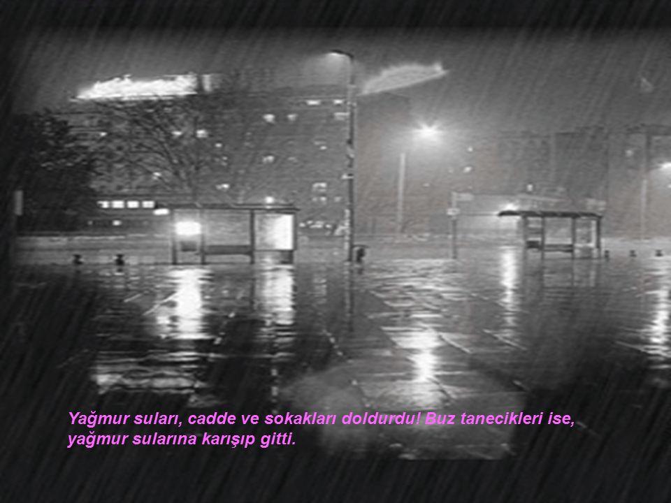 Yağmur suları, cadde ve sokakları doldurdu