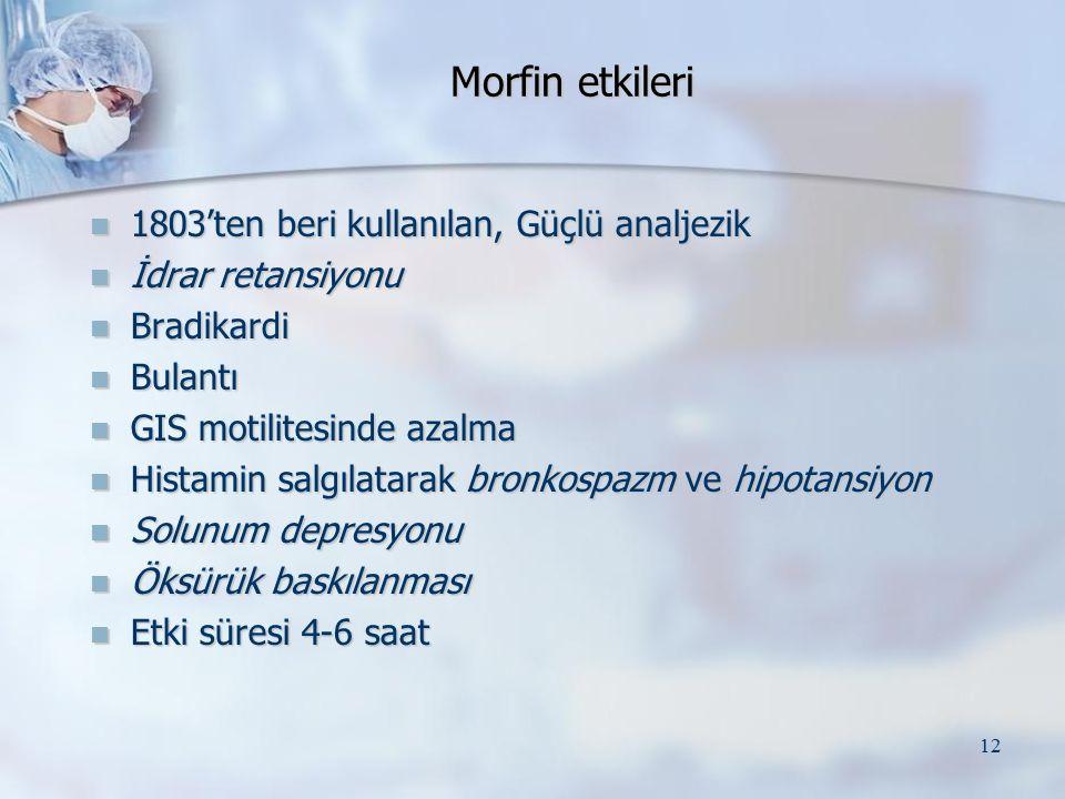 Morfin etkileri 1803'ten beri kullanılan, Güçlü analjezik