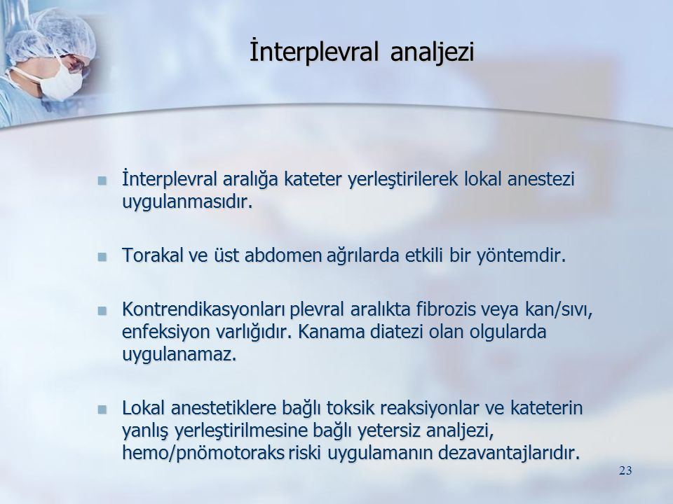 İnterplevral analjezi